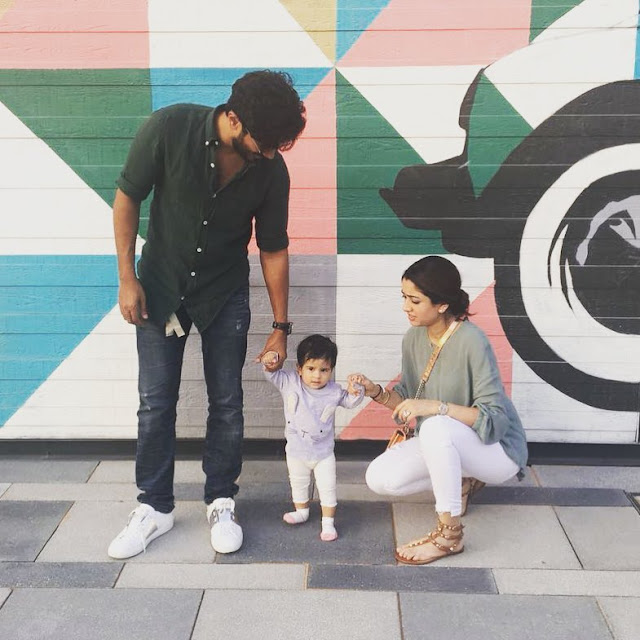 Dulquer with wife Amal Sufiya and Daughter