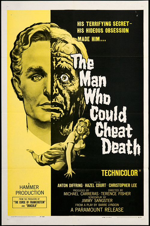 The Man Who Could Cheat Death - Vintage Classic Movie Poster, classic posters, free download, free posters, free printable, graphic design, movies, printables, retro prints, theater, vintage, vintage posters, vintage printables, sci-fi movie poster