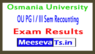 Osmania University OU PG l / lll Sem Recounting Exam Results