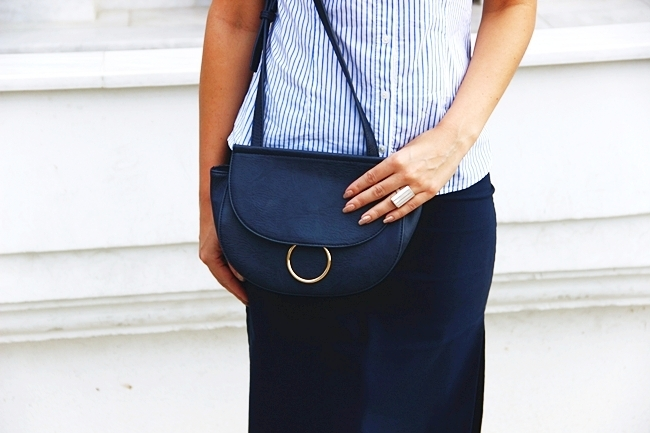 Weekend Max Mara white-blue striped shirt with ruffles.Stradivarius navy purse.Sasch navy skirt.Best office job looks.