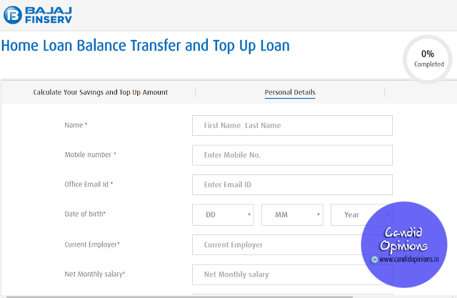 Bajaj Finserv's online Home Loan Balance Transfer application form