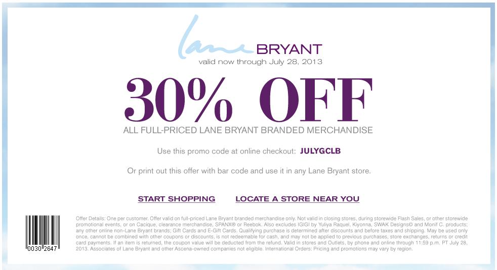 lane bryant coupons october 2018