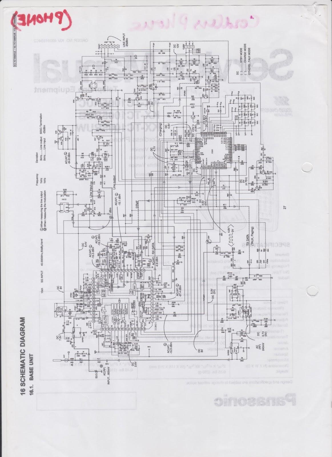 schematic diagram panasonic cordless phone