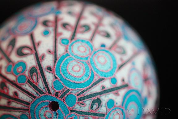 "©Katy David 2016 ""Blue Moonflowers"" Goose egg, aniline dye"