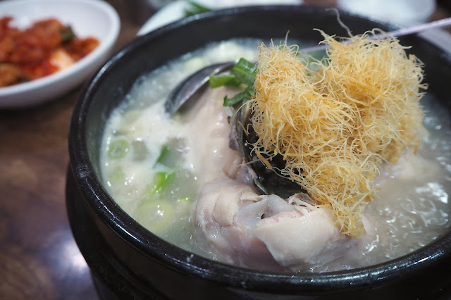 Baek Nyeon Baekse Jeonbok Samgyetang / Wild Cultivated Ginseng Chicken Soup With Abalone