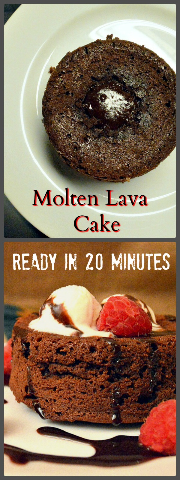 Chocolate Lava Cake is a family favorite. Make them in 15 minutes, and set aside until ready to bake. Place in oven for a long 8 minutes and serve! Rich and full of chocolate, they will be begging for more! www.thisishowicook.com #moltenlavacake #chocolate desserts #cake