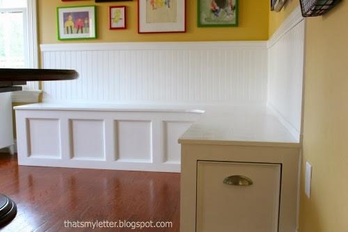diy kitchen banquette with storage drawers