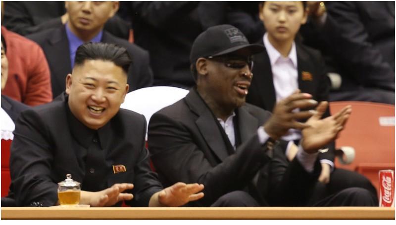 Dennis Rodman tertawa bersama Kim Jong Un