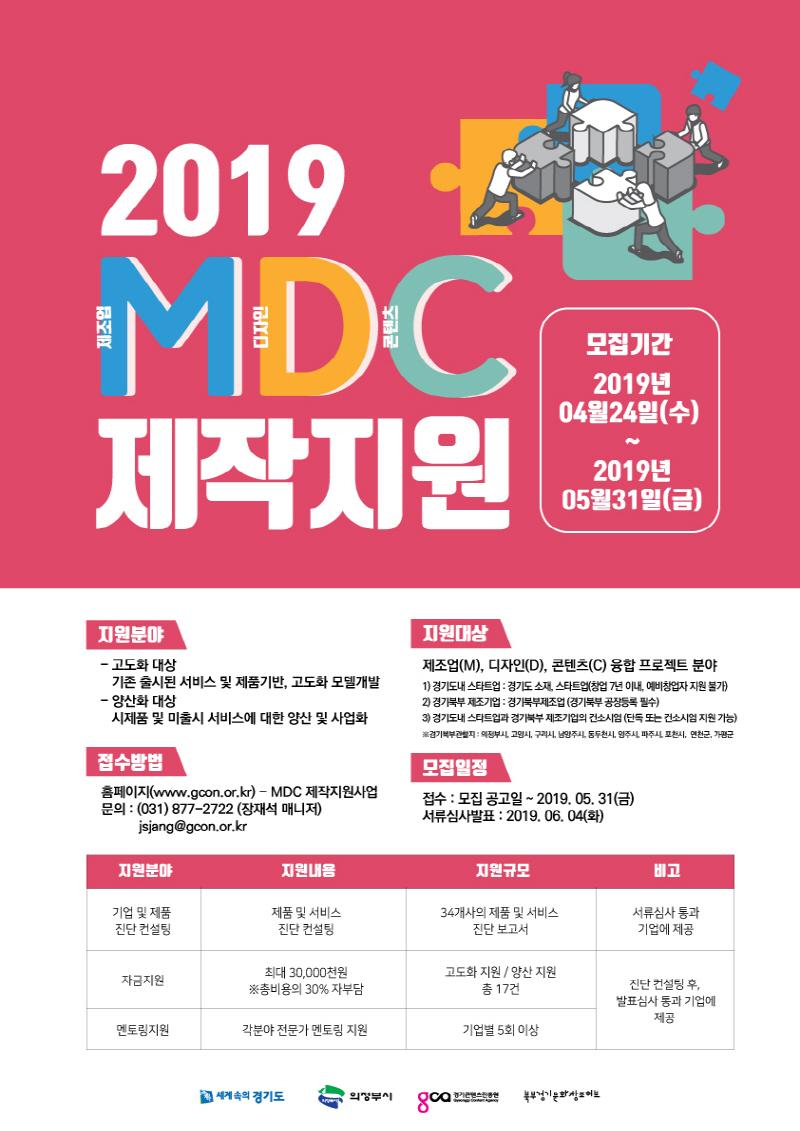 경기도, 콘텐츠 융·복합 '2019 엠디씨(MDC) 제작지원사업' 참여기업 모집
