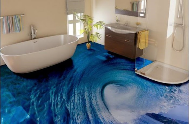 Simple 3D epoxy flooring for bathroom floor designs