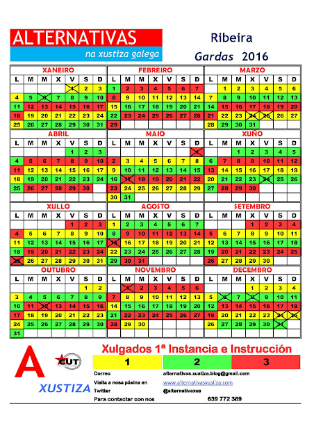 Ribeira. Calendario gardas 2016