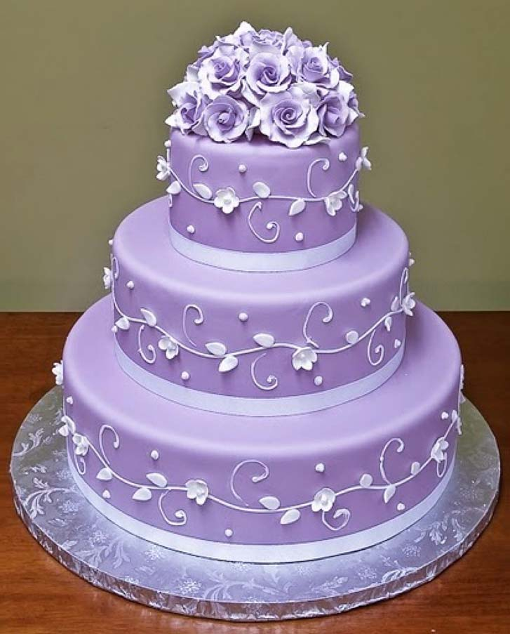 Elegant Purple Wedding Cake Decoration Ideas