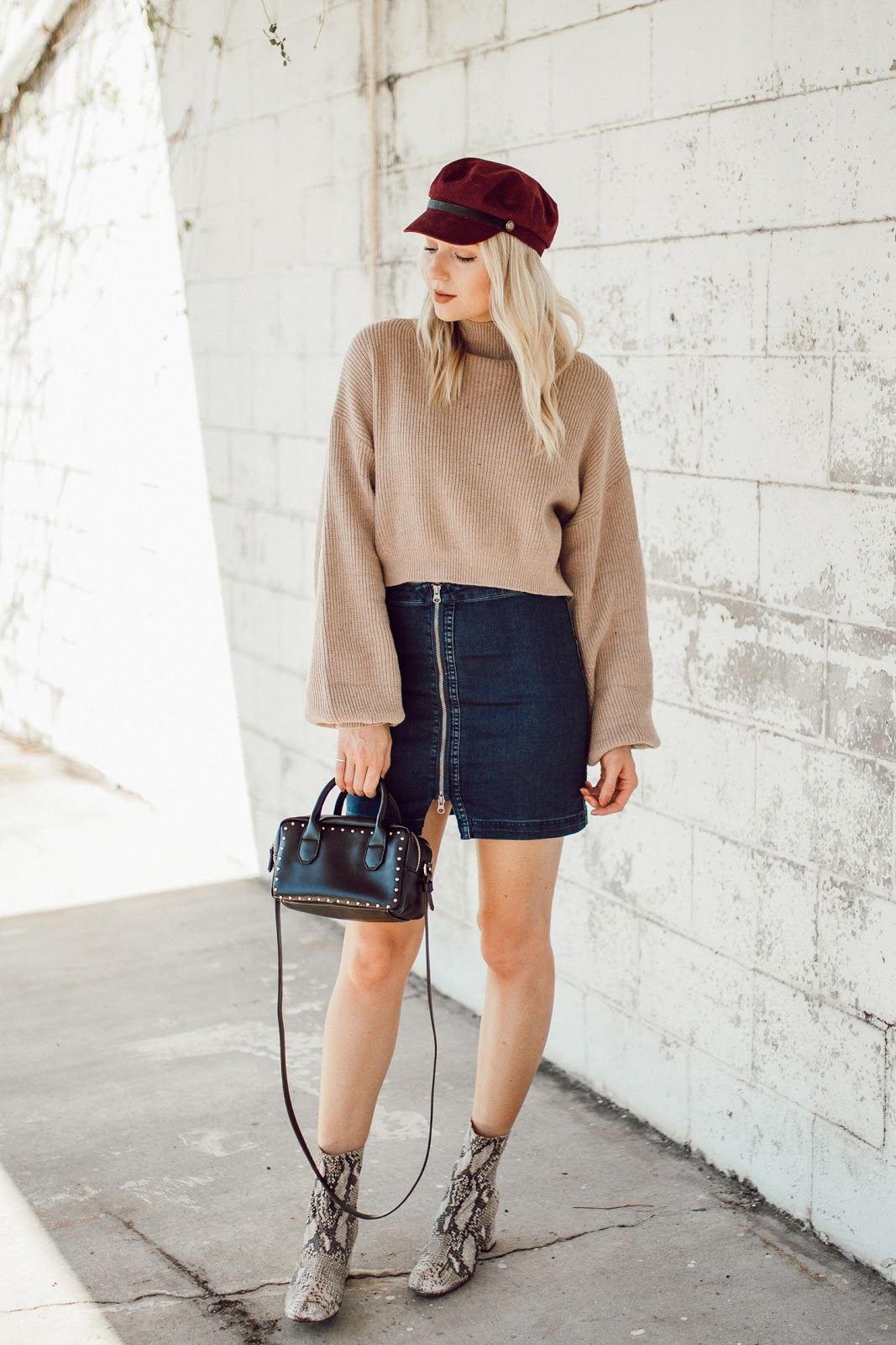 cropped sweater, denim mini skirt