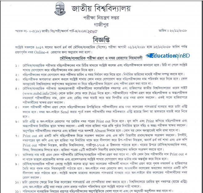 National University Honours 4th Year Viva Exam Date 2018