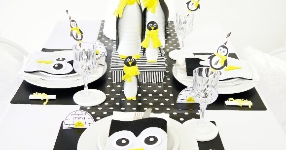 a penguin themed kids christmas holiday tablescape party ideas party printables