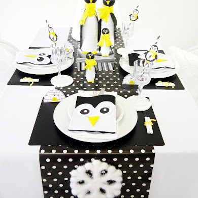 A Penguin Themed Kids Christmas Holiday Tablescape
