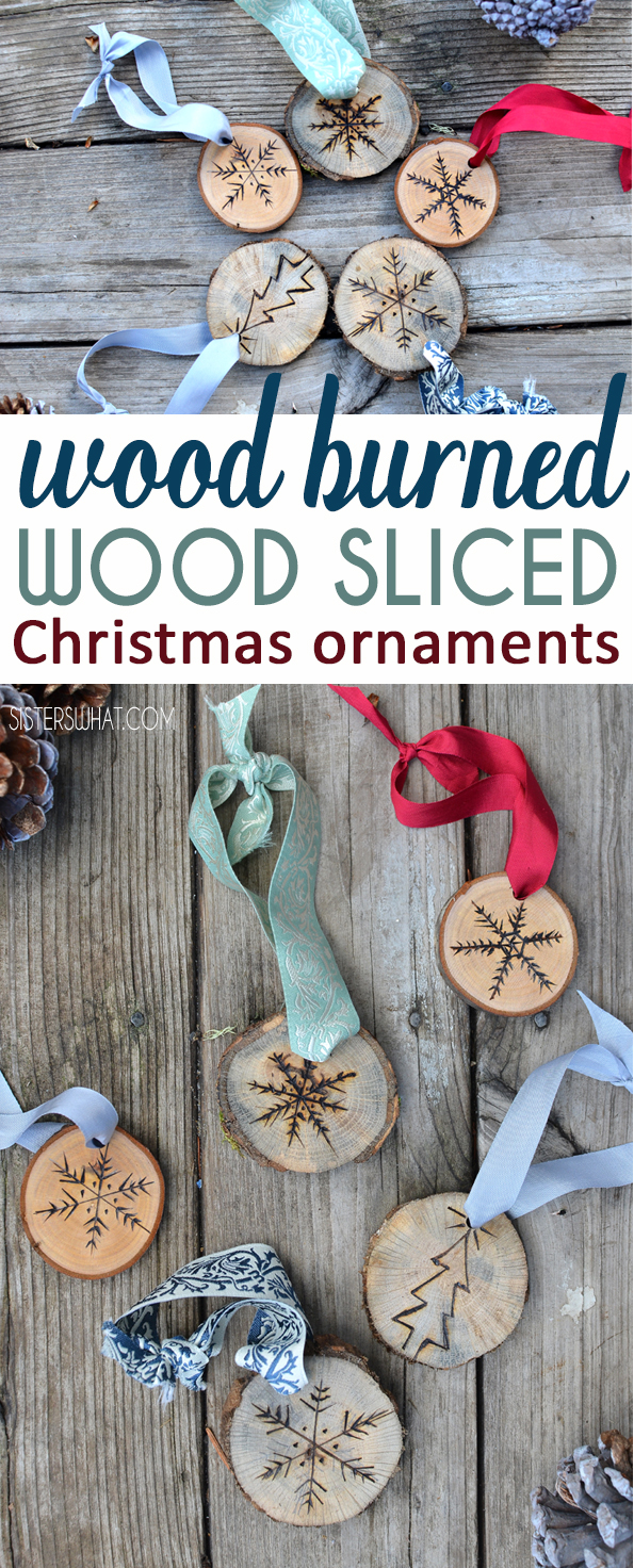 DIY snowflake ornaments using a wood burner on wood slices or tree slices. A fun wood burner craft