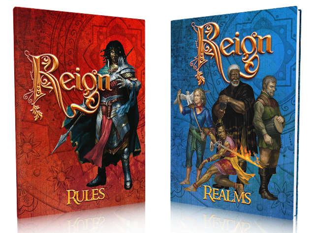 the blue book cover with full color art of a diverse cast of characters and the red cover with the same warrior, a dark skinned person in red and blue