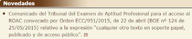 Comunicado Tribunal calificador Examen Aptitud Profesional para el acceso al ROAC texto consulta