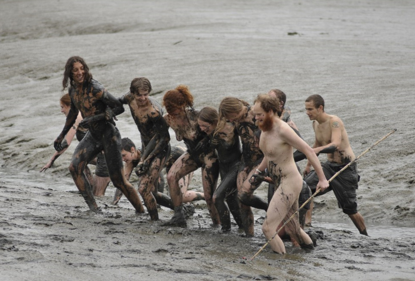 Old woman mud run nudity piercing