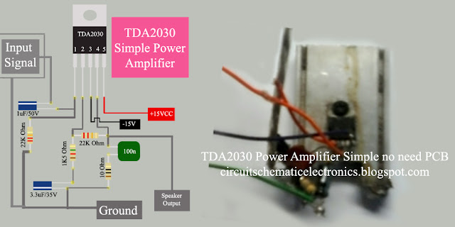 Power Amplifier using IC TDA2030 circuit diagram