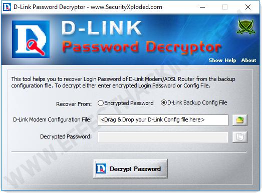 DLink Password Decryptor D-Link Backup Config File Screenshot