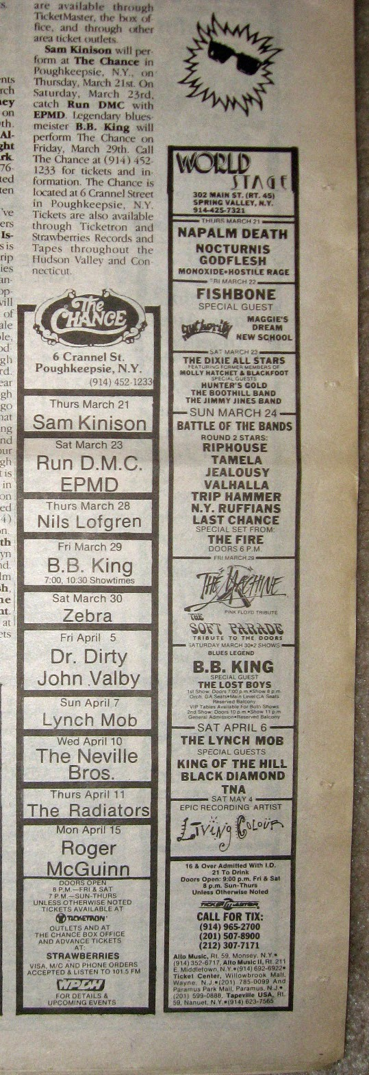 The Chance - World Stage band line ups 1991