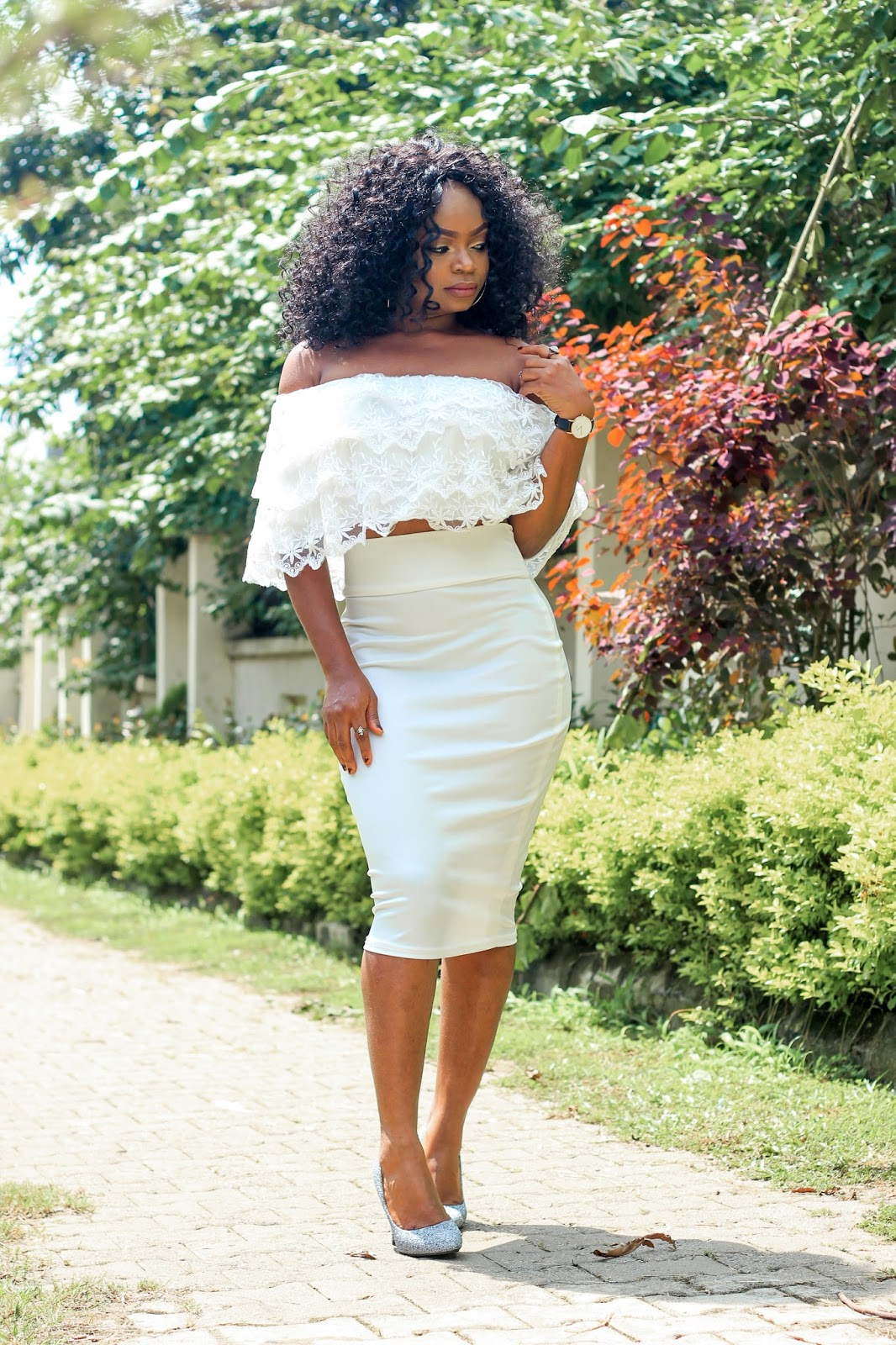 COLD SHOULDER - Lace Cold/Off Shoulder Top with White Pencil Skirt and grey glitter court shoes from Jumia