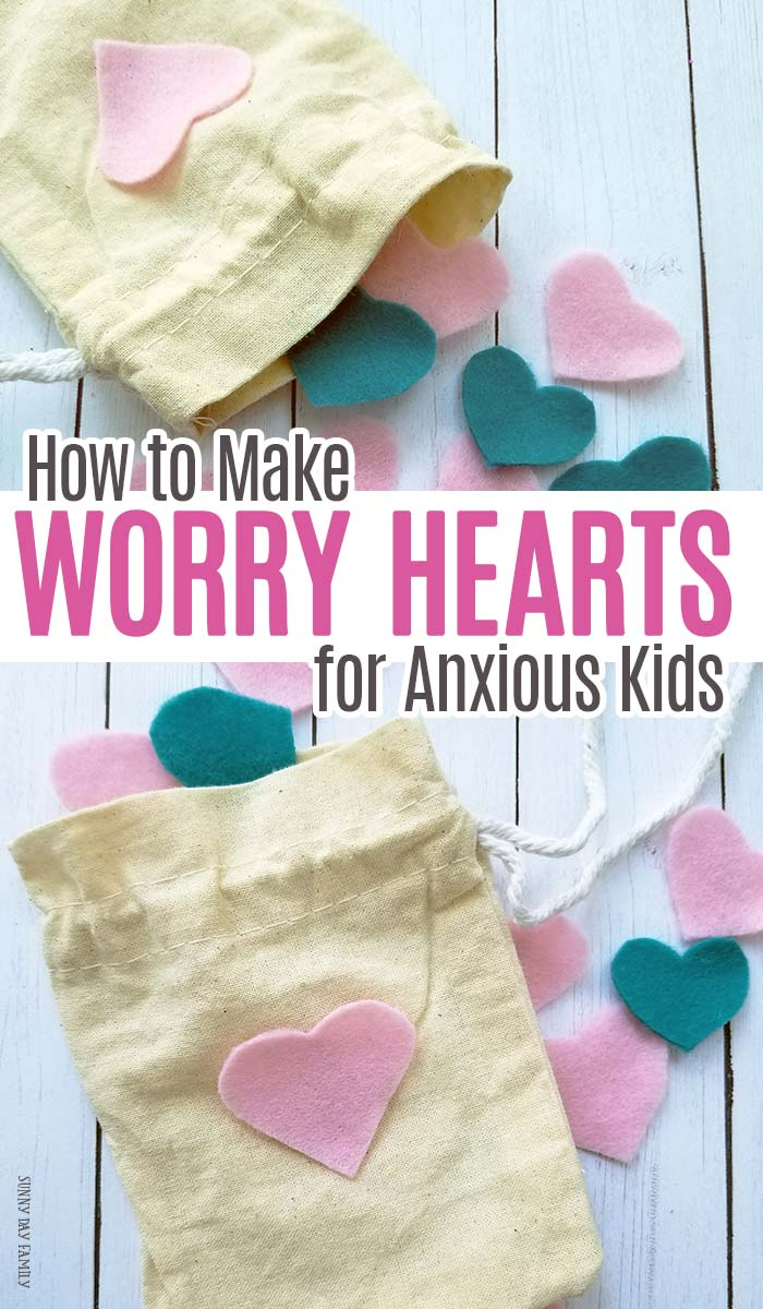 Help anxious kids by making them a bag of worry hearts to take wherever they go! A sweet twist on worry stones for kids - these are perfect for the first day of school or any day. #backtoschool #firstdayofschool #parenting #forkids