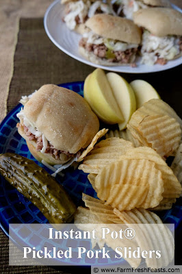 image of a plate of Instant Pot Pickled Pork Sliders