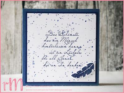 Stampin' Up! rosa Mädchen Kulmbach: Trauerkaten in Blau mit Four Feathers, Gorgeous Grunge und Sprüchen