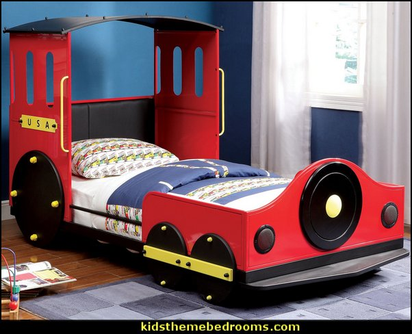 Train Locomotive Transitional Twin Youth Bed   Train themed bedroom decorating ideas - boys bedroom train theme decor  - train themed beds - train themed furniture - train theme bedding - train theme decorations - Thomas the tank bedroom - Thomas the tank theme bed - old world train themed bedroom - vintage style trains wall murals - choo choo trains wall decal stickers - Train Theme furniture