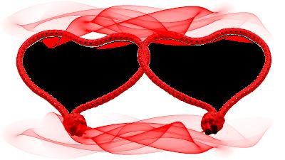 Moldura Dia dos Namorados 2 corações entrelaçados in red 4 png