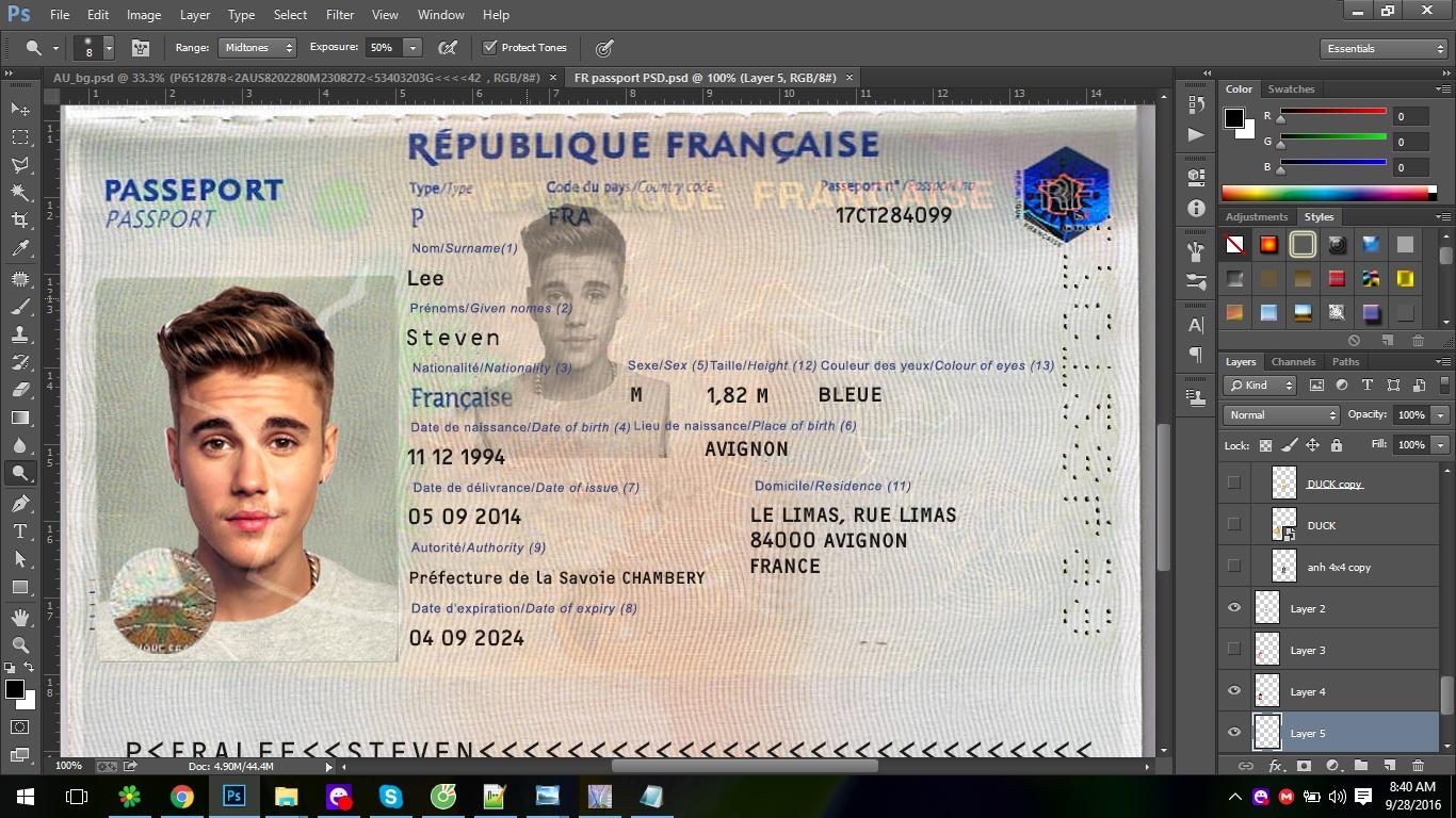 FRANCE Passport EDITABLE Template PSD - PSD TEMPLATE USA, UK,EU,CA ...