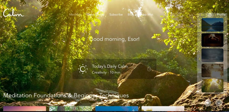 Calm 國外評價最高的放鬆冥想 App ,網頁 App 皆可免費上手