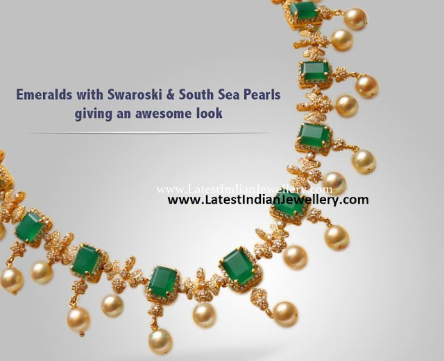 Emeralds and Swarovski Necklace