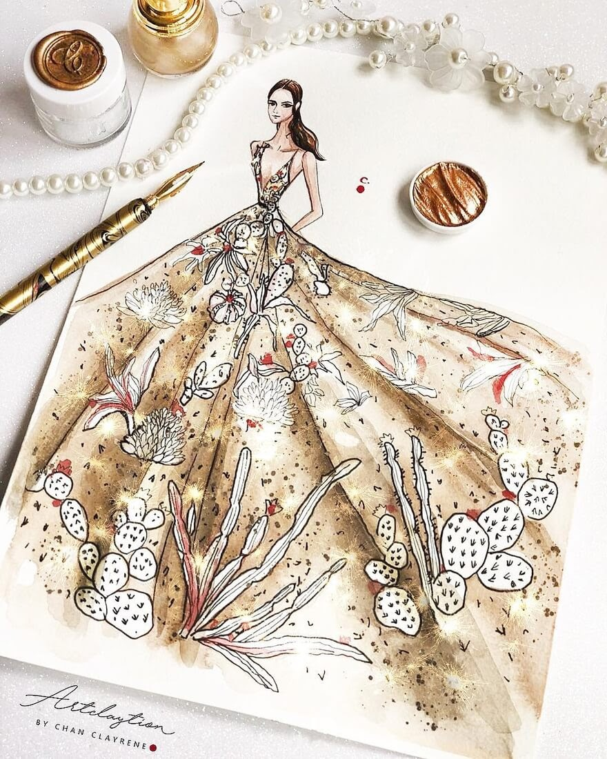 05-Indian-Summer-Haute-Couture-inspired-Clayrene-Chan-Drawings-of-Lavish-Flowing-Dress-Designs-www-designstack-co