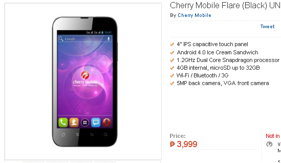 Cherry Mobile Flare now available in Lazada Online Store