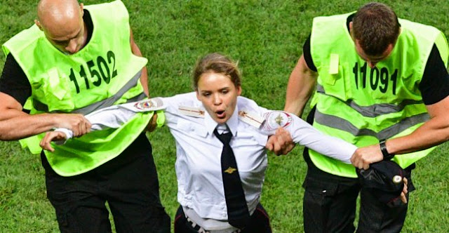 Pussy Riot members where sentenced to 15 days for a world cup pitch invasion dressed as the police.