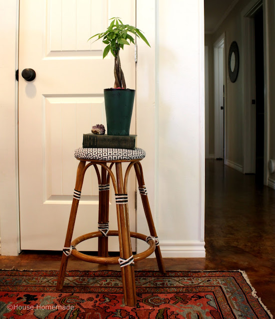 European bistro stool with paint and fabric-- house homemade