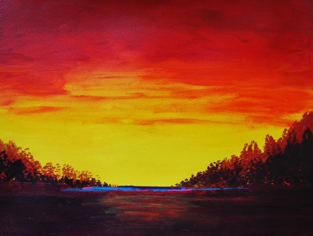 Shirleen Bland' Art Studio Tutorial Beautiful Sunset Landscape