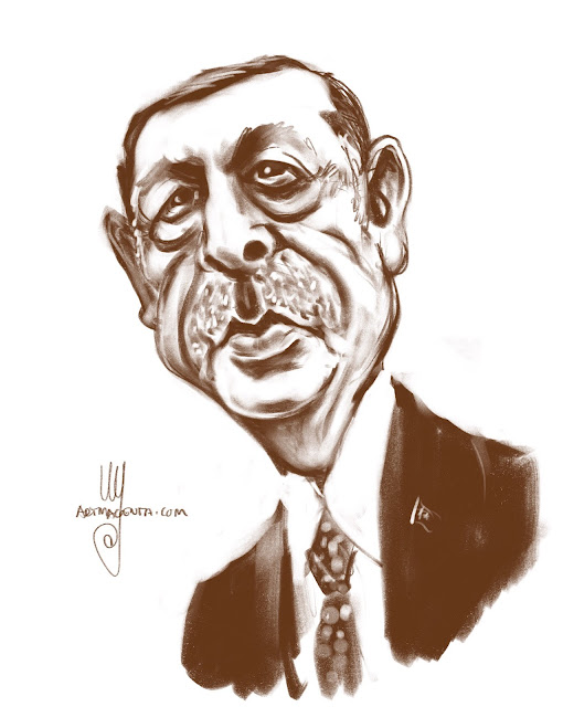Recep Tayyip Erdogan Caricature drawing by Artmagenta