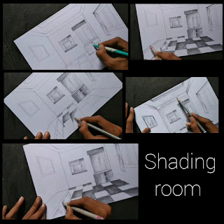Room drawing with one point perspectives, step by step tutorial,kids drawing, room drawing with perspectives, room pencils deawing