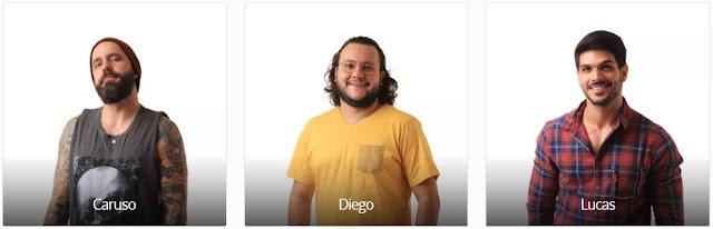 Vote no Paredão do BBB18 desta semana: CARUSO X DIEGO X LUCAS e veja a enquete de quem esta ganhando