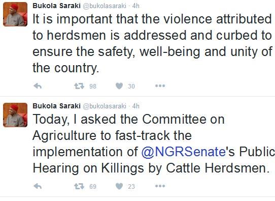 Embattled Senate President Bukola Saraki Tweets About Fulani Herdsmen