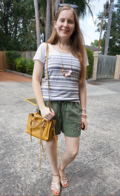 navy striped tee with olive shorts gold accessories and rebecca minkoff micro regan bag | away from blue