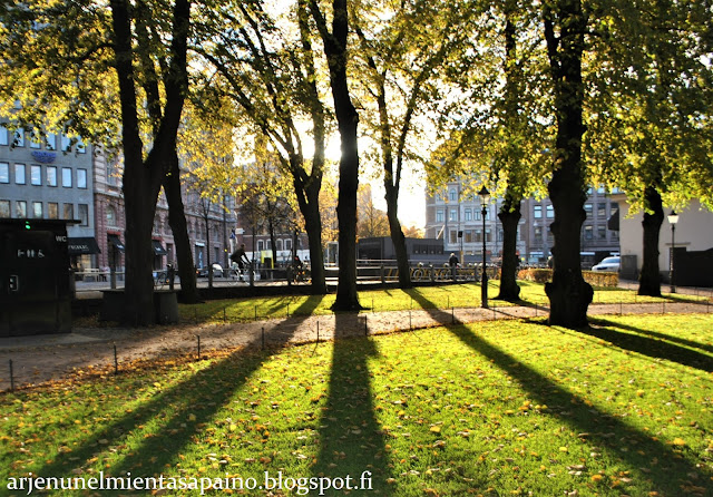 Helsinki, Esplanadi, puisto, aurinko, syksy, lokakuu, valokuvaus,