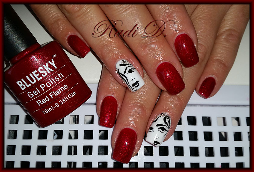 It`s all about nails: Red nails & faces