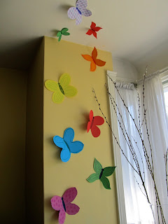 Paper Butterflies Hung on the Wall