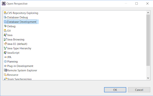 Step 1 - How to open Database Development Perspective in Eclipse